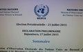 Publication de la Déclaration préliminaire de la MENUB sur la présidentielle du 21 juillet